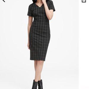 Solid black Banana Republic double V dress